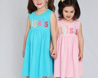 Big Sister Little Sister Dress Set- Sibling Dress- Big Sis Lil Sis- You Choose Dress Color and Sleeve Length