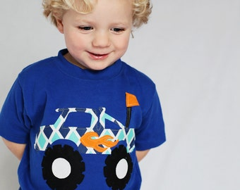 Monster Truck Shirt - Boys Birthday Shirt - Monster Truck applique- Choose Shirt Color, Sleeve Lengthh