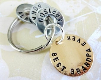 Personalized Grandpa keychain - Grandparent Christmas Birthday Hand Stamped Key Chain - BEST GRANDPA EVER Washer Key Chain and Copper Disc