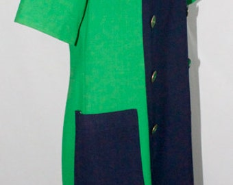Kelly Green and Navy, Color Block Shift Dress - Vintage, 1980s - Excellent Condition