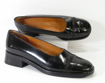 harold powell clogs shoes womens 7 M black leather heels leather