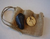 Burlap bag with Rune Symbol Tag and Stone of WARRIOR