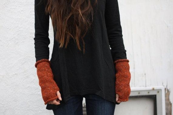 RESERVED SALE tweed tube fingerless mittens - ginger