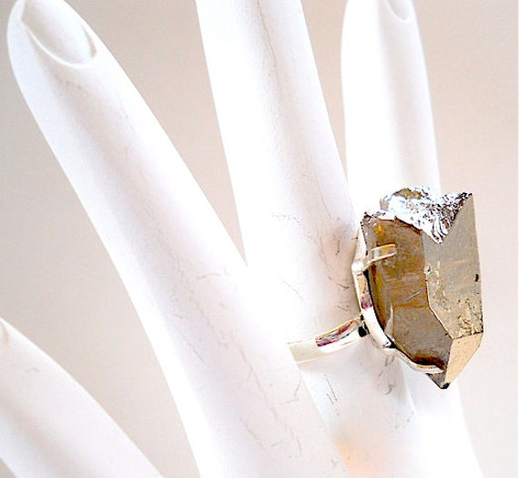 MOTHERS DAY What a Rock - Chunk Pyrite Cocktail Ring, Sz.7  Silver Accessory, Earthy Womens Fashion, SPRING Trends