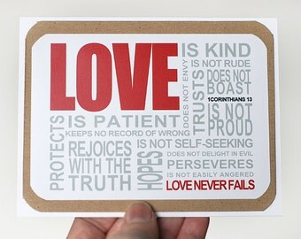 Love Greeting Card. 1 Corinthians 13 Card. Anniversary Card. Wedding Card. Valentines Day Card. Engagement Card by mateoandtobias on Etsy
