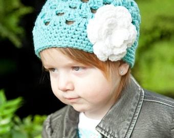 Crochet Girls Hat, Newborn Hat, Aqua and White Flower Beanie Baby Hat, Photography Prop