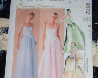 1998 McCall's Pattern 9672 for Women's Lined Tops, Skirt and Stole Size B 8, 10, 12 Uncut, Factory Folds