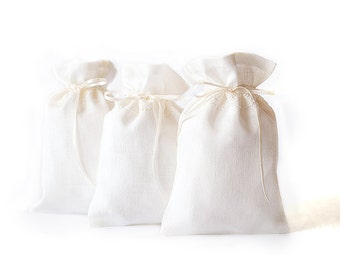Wedding Gift bags set 50 -  Ivory Gift Bags - Wedding Favors - Wedding welcome bag - linen gift bags - linen lace bags - favor bags
