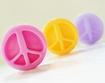 30 BULK PEACE SIGN Mini Soaps - Choose Scent & Color, diy party favors, birthday, tween, teen, scented, girls
