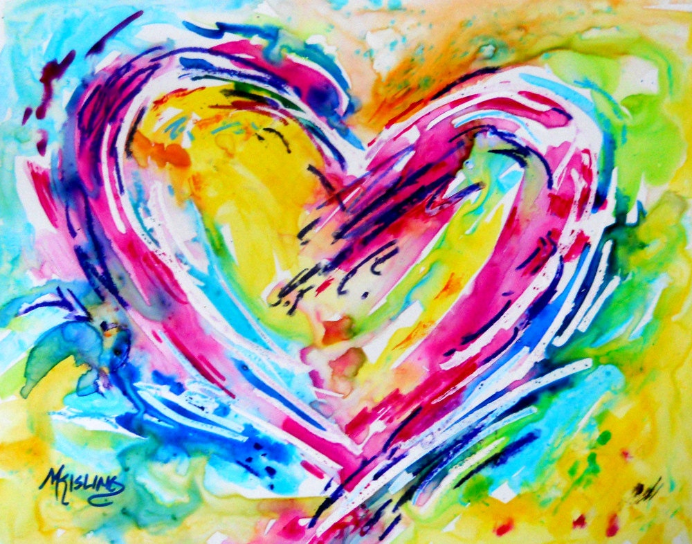 Yupo Watercolor Heart Bright Colors By Martha Kisling