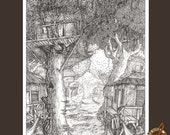 Black and White fantasy landscape illustration of a swamp tree town