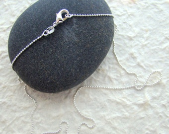 "Sterling Silver 1 mm ball chain necklace  18"" length with lobster claw clasp"