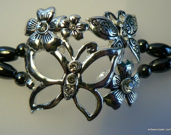 Butterflies with Rhinestones Hematite Magnetic Bracelet with easy on/off Magnetic clasp