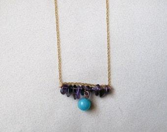 Translucent Purple Amethyst and Mint Green Amazonite Organic Mineral Stone Necklace With FREE SHIPPING