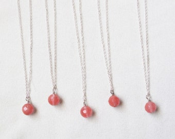 Simple Cherry Quartz Stone Pendant Necklace - Set of 5 with FREE SHIPPING
