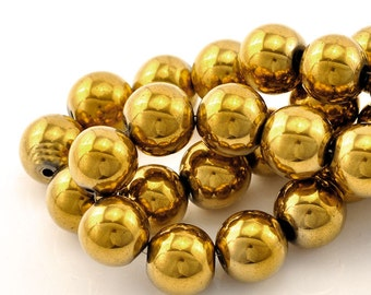 15 Gold Plated Hematite Gemstone Beads 12mm - BD176