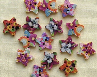 20 Painted Wood Buttons Star Design Assortment 18mm BUT173