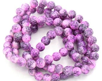 20 Mottled Pink and Violet Glass Beads 8mm BD264
