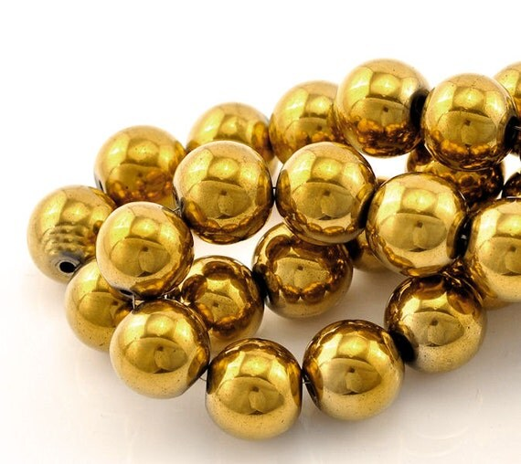 15 Gold Plated ... Gold Hematite Beads