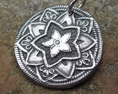 Mandala Pendant, Mandala Charm, Fine Silver Charm, PMC Pendant,  Mandala Necklace, Yoga Necklace, Yoga Jewelry RESERVED