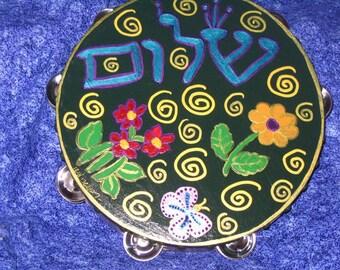 "Shalom and Happiness 10"" inch hand painted Tambourine"