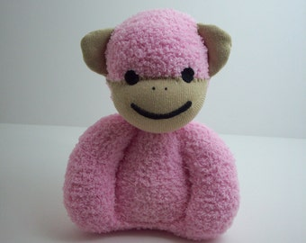 Child safe sock monkey stuffed plush toy for newborn babies and toddlers, Baby safe sock monkey toy, new baby girl gift, pink monkey toy