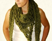 Scarf Shawl Hand Knitted in Olive Sage Green