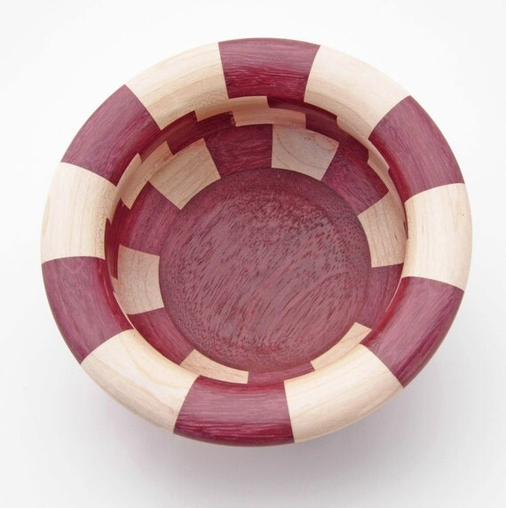 Handmade Wood Bowl, Segmented Bowl, Maple and Purpleheart wood