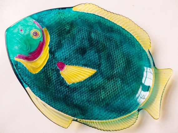 Hand painted large glass fish platter by meerkatsmanor on etsy for Painted glass fish