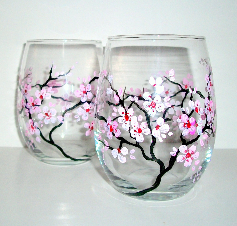 hand painted wine glasses spring wedding cherry blossoms set. Black Bedroom Furniture Sets. Home Design Ideas