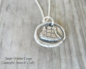 Wax Seal Necklace,  Silver Necklace, Ship Necklace, Nautical Necklace, Unisex Necklace, Coastal Jewelry