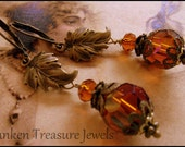 Fluttering Leaves with Amber Waves, Victorian Leaf Earrings