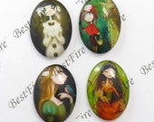 4pcs of the 18x25mm Oval Glass Cabochons Mix Cartoon Leer girl, jewelry Cabochons finding beads,Glass Cabochons, Leer girl--09
