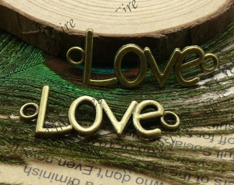 10pcs 12x40mm  Antique Bronze Curved Love Word Bracelet  Connectors Pendant Charms with 2 Rings
