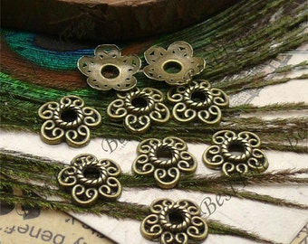 50 pcs of Antique Brass small metal lovely flower bead cups 12mm,beadcap findings