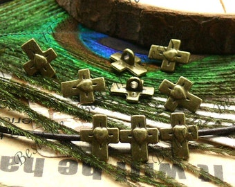 30pcs 8x10mm Antique brass small lovely cross Interval beads, metal beads,spacers finding beads