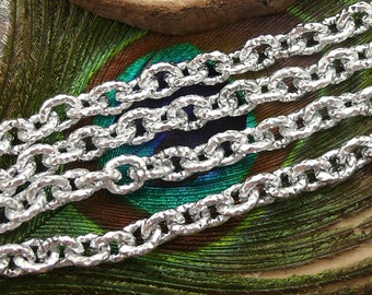 5 ft of Shiny Silver Chain Oval Cable Chain, Aluminum Texture Chain --6x7mm  Aluminium chain