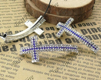 2pcs of 24x53mm Silver tone Cross white and blue Rhinestone Connector,Cross Bracelet Connector,bangle findings