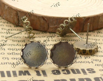 50pcs Antique Solid Brass Earring Posts With Round Cabochon size 12mm,Round wavy edge blank Cabochon base,Earring findings