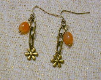 Jelly Bean Earrings Genuine Carnelian Gemstone