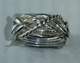 Ladies 6TW2X - 6 Band Puzzle Ring With Twisted Wire