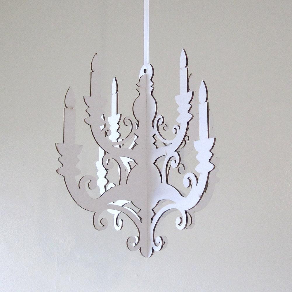 white chandelier small laser cut cardboard diy
