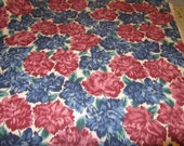 "DEEP RED and BlUE PEONY Floral Home Decorator Fabric 1yd X 44"" wide Chintz"