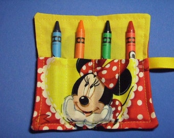 Mini Crayon Keeper 4-Count Roll Up Holder Party Favor -  Made With Minnie Mouse Fabric