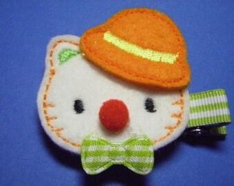 Clown Kitty Feltie Hairbow Clippie- For Infant Toddler Girl