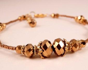 Ankle Bracelet Crystal Anklet Gold Ankle Bracelet Crystal Jewelry Gold Jewelry Beaded Jewelry Beaded Anklet