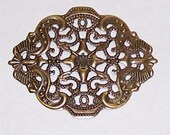 Antique Bronze 44x34mm Filigree finding oval stamping use as setting mount hang beads jewelry finding   511x
