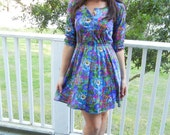 1980's Bright Floral Print Cotton Dress Rehashed Vintage