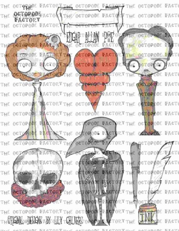 INSTANT DOWNLOAD Edgar Allan Poe Digital Collage Sheet