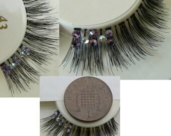 Ultra Sparkly Exclusive False Eyelashes with  Swarovski AB & Preciosa Violet Lilac Crystal  Diamante